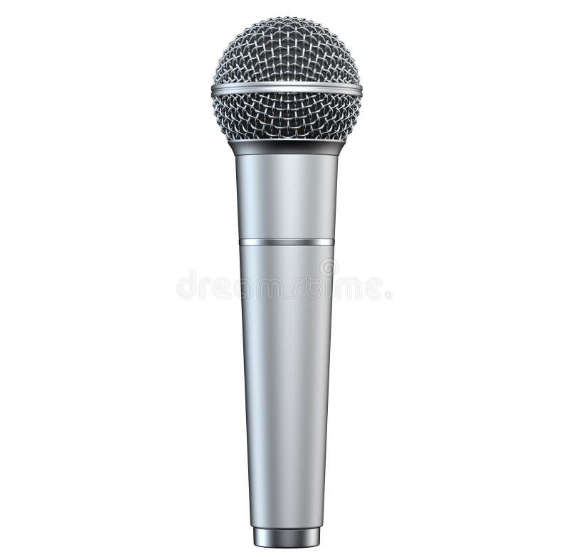 Το ασημένιο μικρόφωνο, που απομονώνεται στο άσπρο υπόβαθρο, τρισδιάστατο δίνει, κάθετη άποψη απεικόνιση αποθεμάτων