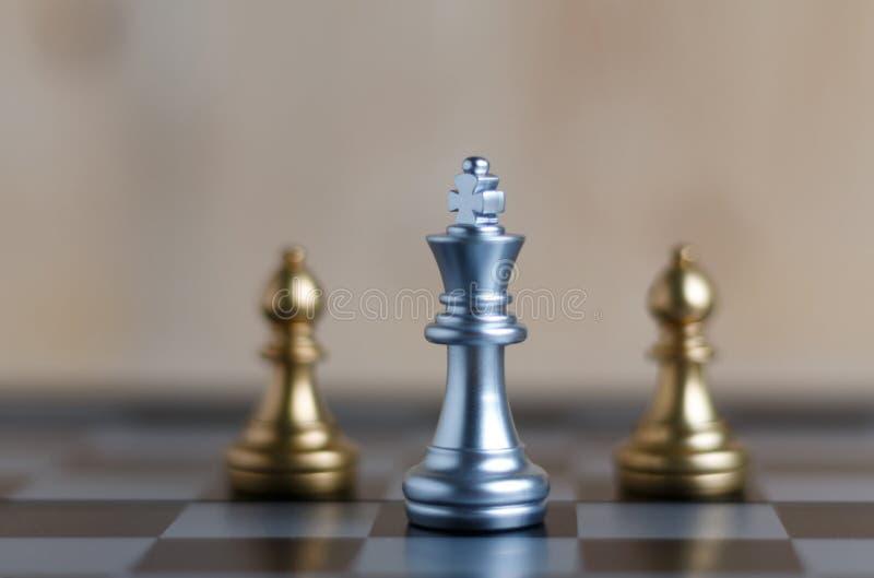 Το ασημένιο σκάκι βασιλιάδων καθορισμένο εν πλω βρίσκεται και θολώνει το bisho δύο στοκ φωτογραφίες