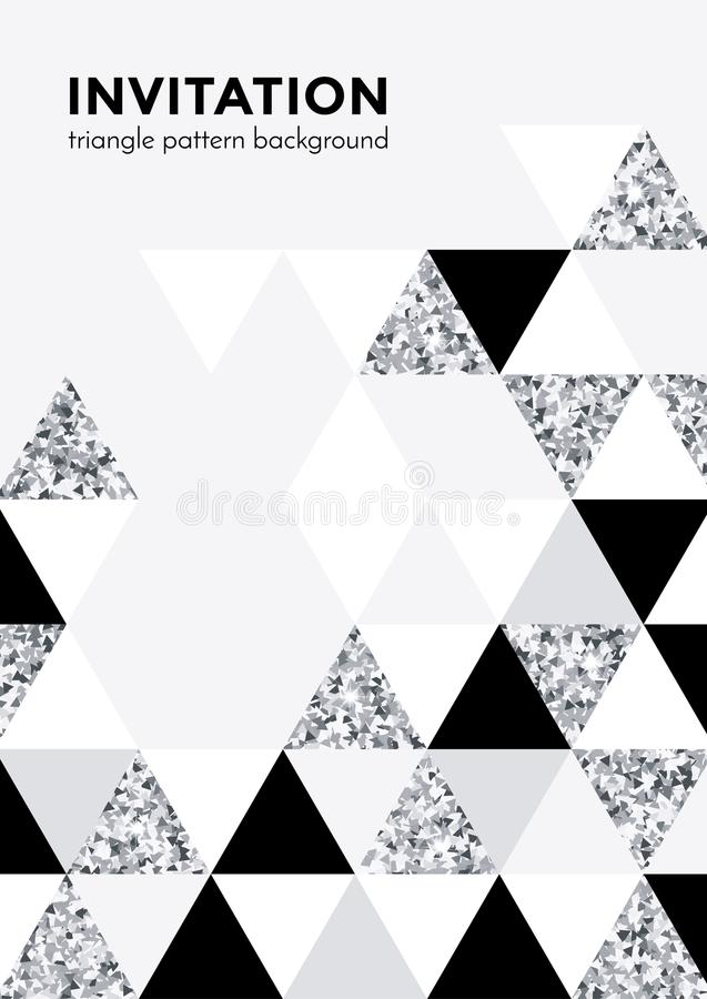 Το ασημένιο υπόβαθρο σχεδίων τριγώνων για την κάρτα πρόσκλησης ή η αφίσα γιορτής Χριστουγέννων σχεδιάζει το πρότυπο του τριγώνου  ελεύθερη απεικόνιση δικαιώματος