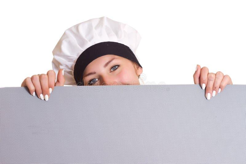 το ασιατικό ανασκόπησης αρτοποιών αστείο απομονωμένο κοίταγμα έκφρασης μαγείρων αρχιμαγείρων πινάκων διαφημίσεων καυκάσιο πέρα απ στοκ εικόνες