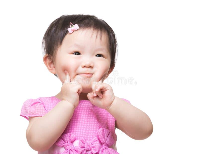 Το ασιατικό κοριτσάκι δύο δάχτυλα αγγίζει το πρόσωπό της στοκ φωτογραφία με δικαίωμα ελεύθερης χρήσης