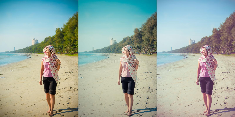 Το ασιατικό ταϊλανδικό κορίτσι περπατά κατά μήκος της ακτής παραλιών Rayong, ταϊλανδικά στοκ εικόνες με δικαίωμα ελεύθερης χρήσης