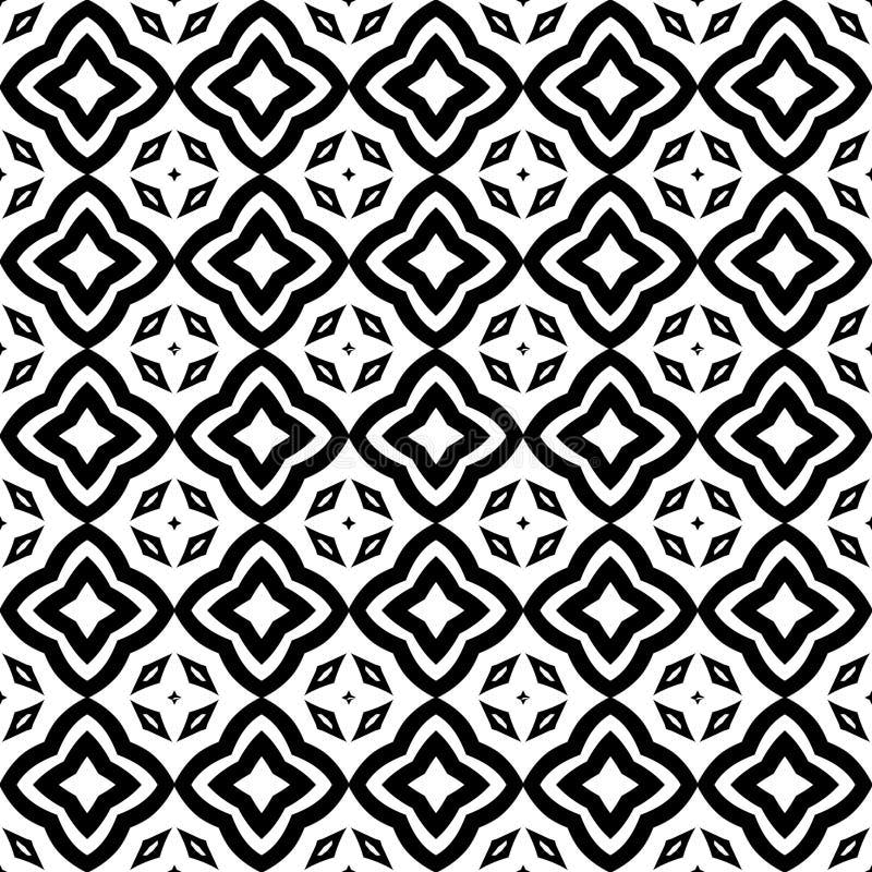 Το αστέρι ανθίζει την άνευ ραφής απεικόνιση υποβάθρου σχεδίων στο μαύρο λευκό ν ελεύθερη απεικόνιση δικαιώματος