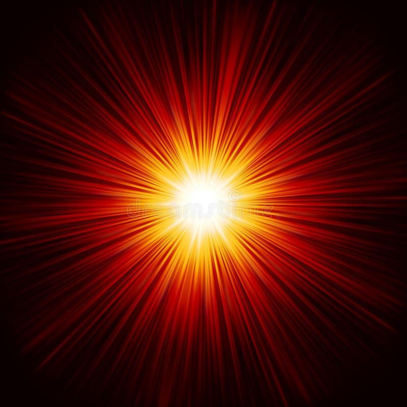 Το αστέρι εξερράγη την κόκκινη και κίτρινη πυρκαγιά. EPS 10 απεικόνιση αποθεμάτων