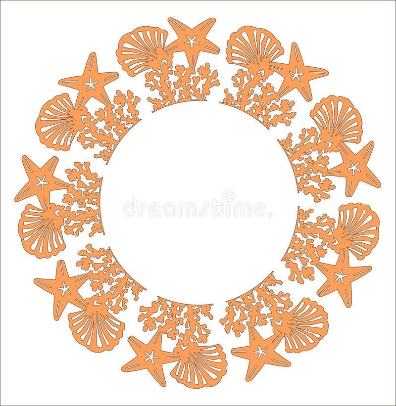 Το αστέρι κοχυλιών θάλασσας στεφανιών στο άσπρο υπόβαθρο Δώρο καρτών πρόσκλησης σχεδίων γαμήλιων παραλιών Το λέιζερ έκοψε το σχέδ ελεύθερη απεικόνιση δικαιώματος