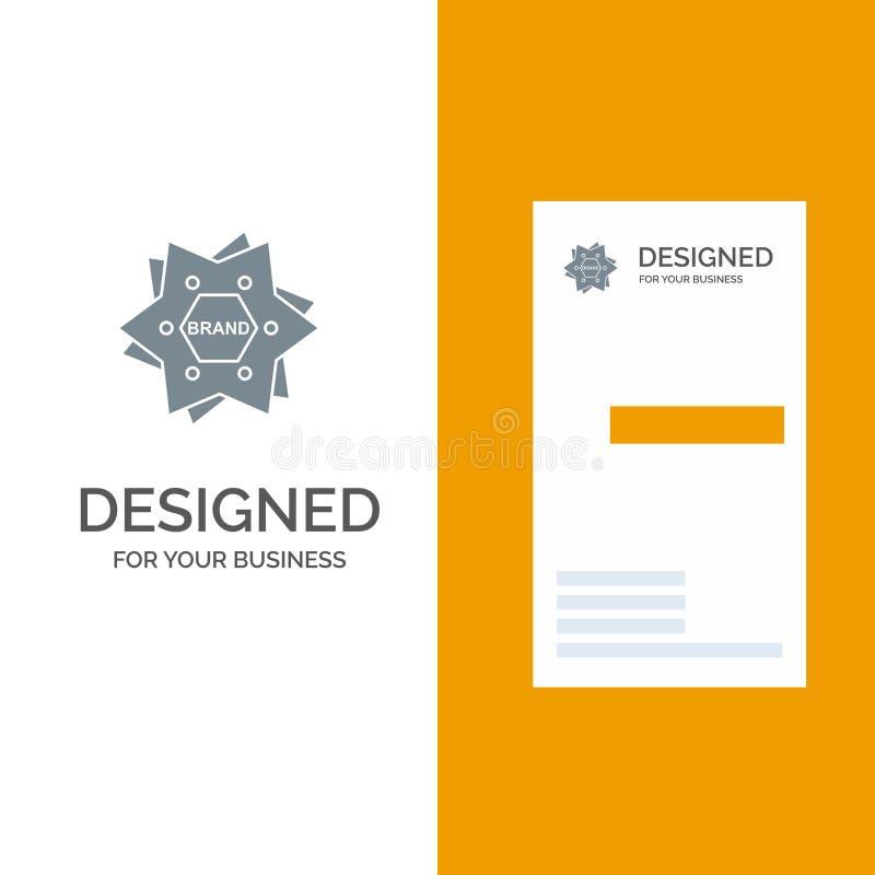 Το αστέρι, μαρκάρισμα, εμπορικό σήμα, λογότυπο, διαμορφώνει το γκρίζο σχέδιο λογότυπων και το πρότυπο επαγγελματικών καρτών απεικόνιση αποθεμάτων