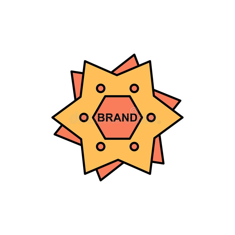 Το αστέρι, μαρκάρισμα, εμπορικό σήμα, λογότυπο, διαμορφώνει το επίπεδο εικονίδιο χρώματος Διανυσματικό πρότυπο εμβλημάτων εικονιδ απεικόνιση αποθεμάτων