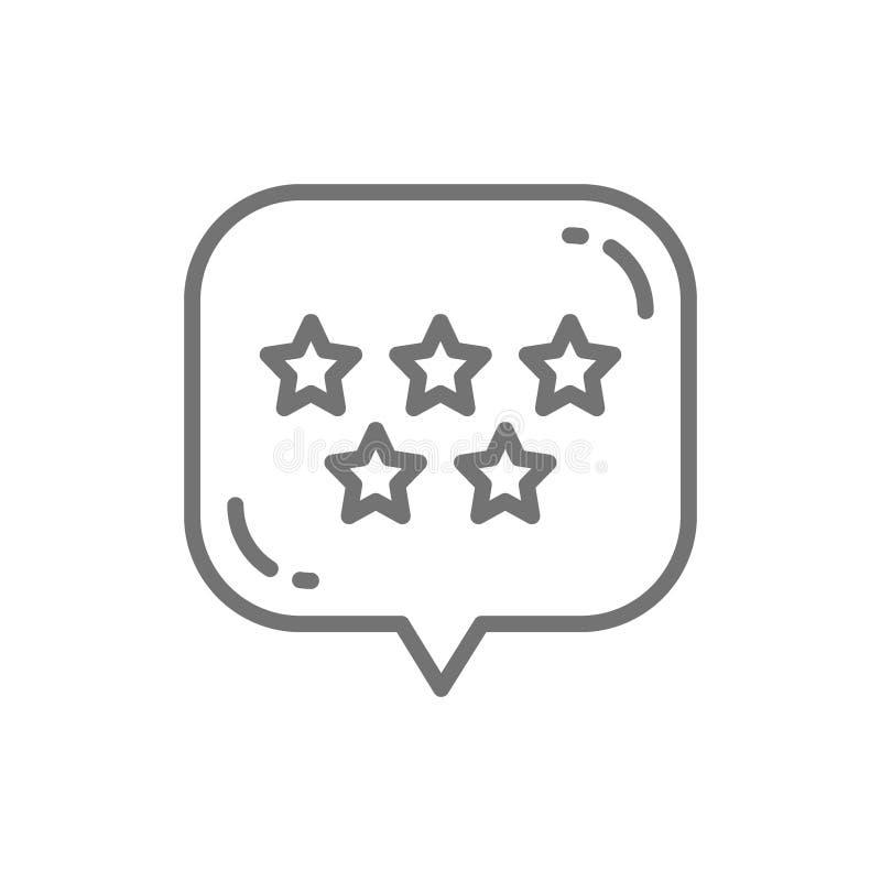 Το αστέρι με τη λεκτική φυσαλίδα, καλύτερη επιλογή, θετικό ανατροφοδοτεί το εικονίδιο γραμμών ελεύθερη απεικόνιση δικαιώματος