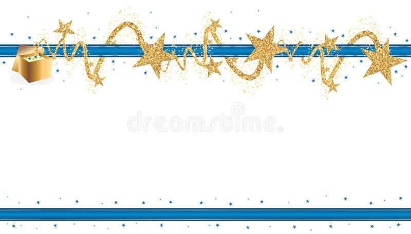 Το αστέρι χρυσό ακτινοβολεί μπλε έμβλημα κορδελλών απεικόνιση αποθεμάτων