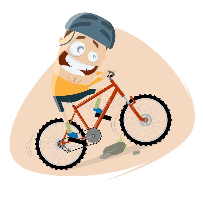 Το αστείο άτομο κινούμενων σχεδίων οδηγά ένα ποδήλατο βουνών διανυσματική απεικόνιση