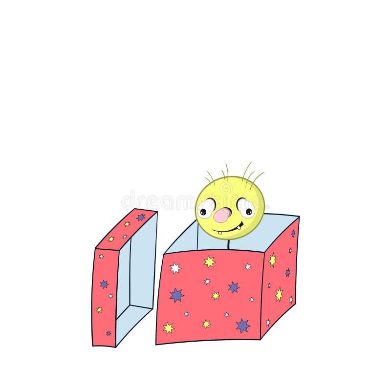 Το αστείο ελατήριο κινούμενων σχεδίων - με το κεφάλι, μάτια και στόμα, κοιτάζει από ένα κιβώτιο δώρων και χαμογελά διανυσματική απεικόνιση