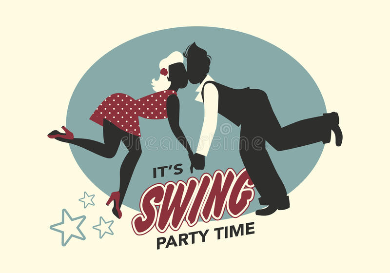 Το αστείο ζεύγος σκιαγραφεί τη χορεύοντας ταλάντευση διανυσματική απεικόνιση