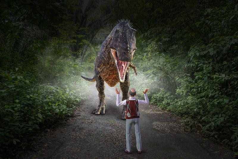 Το αστείο ιουρασικό πάρκο, δεινόσαυρος τρώει το άτομο στοκ εικόνα με δικαίωμα ελεύθερης χρήσης