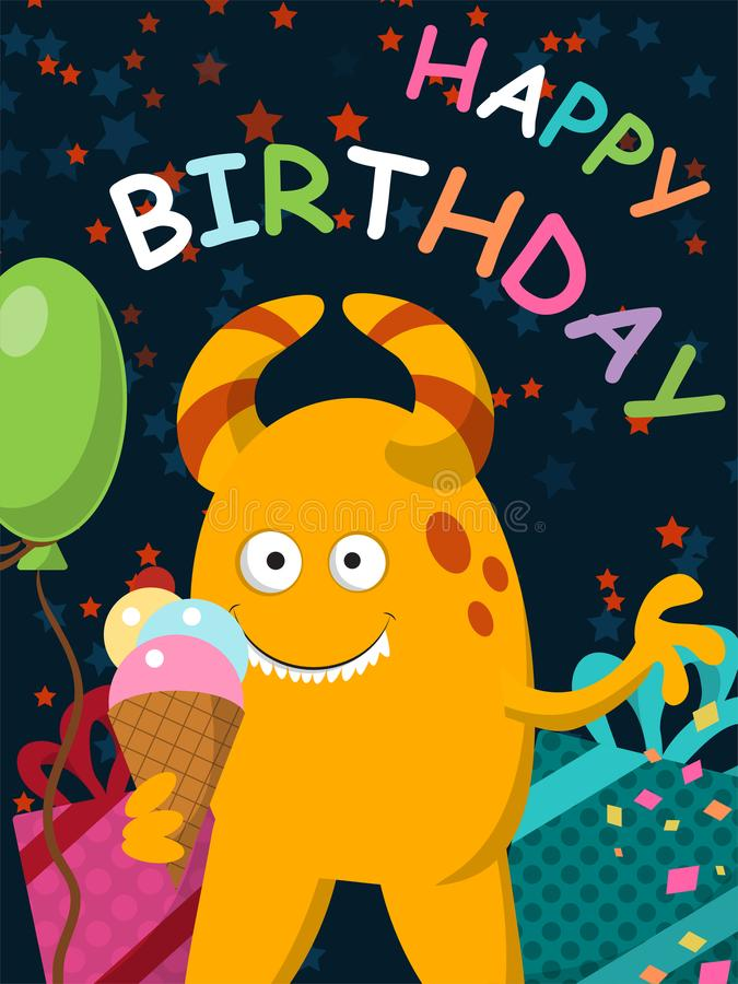 Το αστείο κίτρινο τέρας με το παγωτό γιορτάζει τα γενέθλιά του κάρτα διανυσματική απεικόνιση
