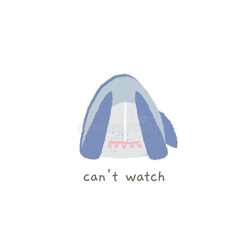 Το αστείο χαμόγελο καρχαριών κλείνει τα μάτια του με τα πτερύγια Μην μπορέστε να προσέξετε αυτό Συρμένο χέρι διανυσματικό emoji απεικόνιση αποθεμάτων
