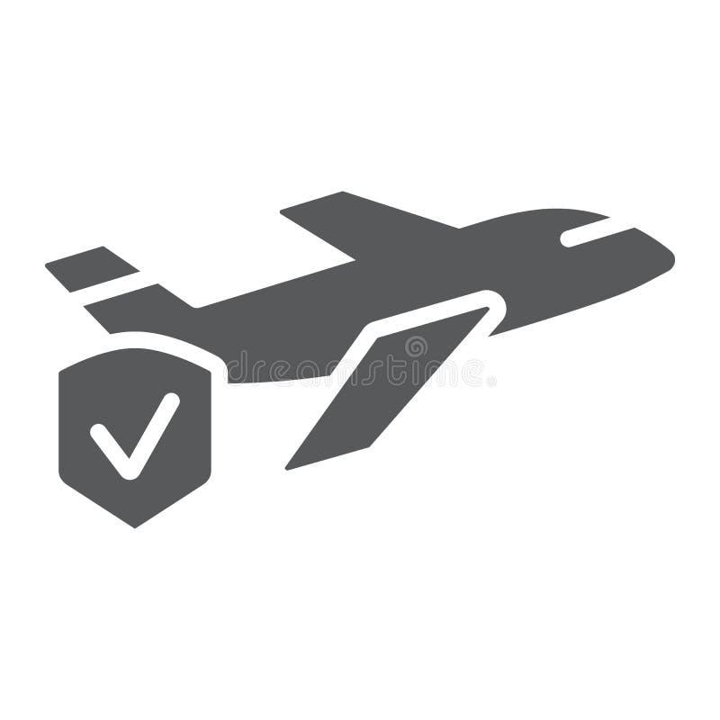 Το ασφαλιστικά glyph εικονίδιο, το ταξίδι και η ασφάλεια, η ασπίδα και το αεροπλάνο ταξιδιού υπογράφουν, διανυσματική γραφική παρ διανυσματική απεικόνιση