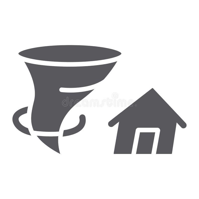 Το ασφαλιστικοί glyph εικονίδιο, η καταστροφή και η φύση, το σπίτι και ο ανεμοστρόβιλος ανεμοστροβίλου υπογράφουν, διανυσματική γ απεικόνιση αποθεμάτων