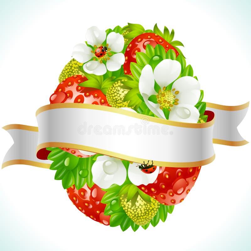 το αυγό Πάσχας ανθίζει τη φράουλα διανυσματική απεικόνιση