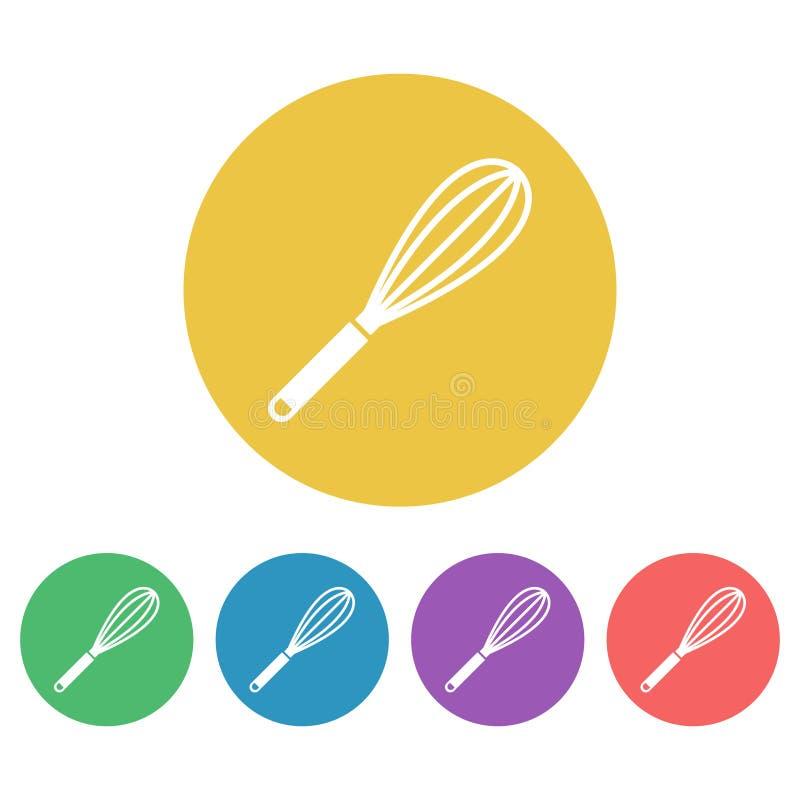 Το αυγό χτυπά ελαφρά ή beater το διάνυσμα που χρωματίζεται γύρω από τα εικονίδια απεικόνιση αποθεμάτων