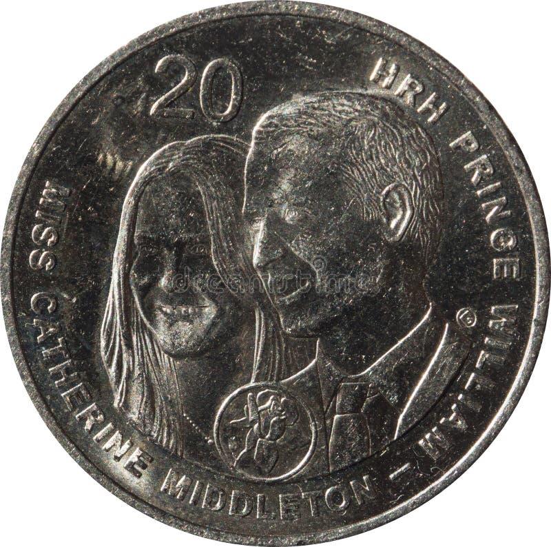 Το αυστραλιανό νόμισμα είκοσι-σεντ που τιμά την μνήμη του βασιλικού γάμου του πρίγκηπα William και του έτους 2011 της Catherine M στοκ εικόνες