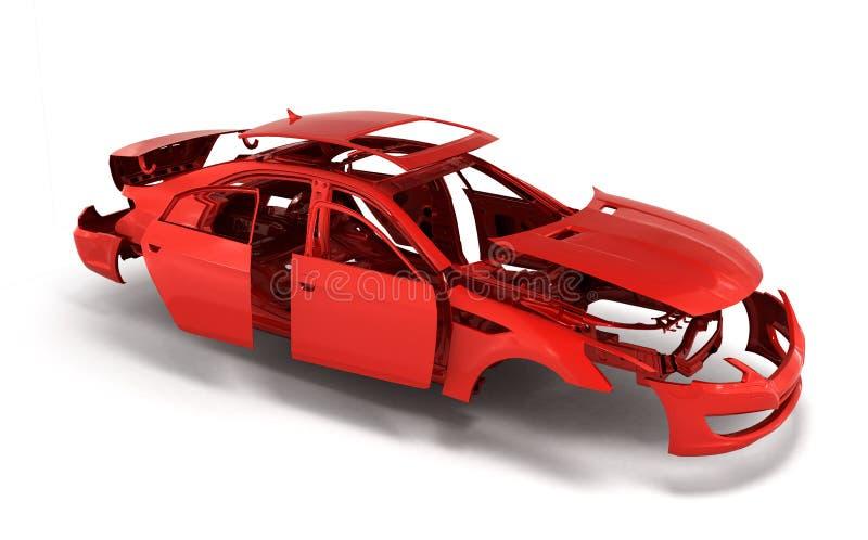 Το αυτοκίνητο έννοιας χρωμάτισε το κόκκινο σώμα και εμπυρευμάτισε τα μέρη πλησίον στο W διανυσματική απεικόνιση
