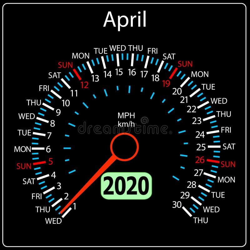 Το αυτοκίνητο Απρίλιος ημερολογιακών ταχυμέτρων έτους του 2020 διανυσματική απεικόνιση