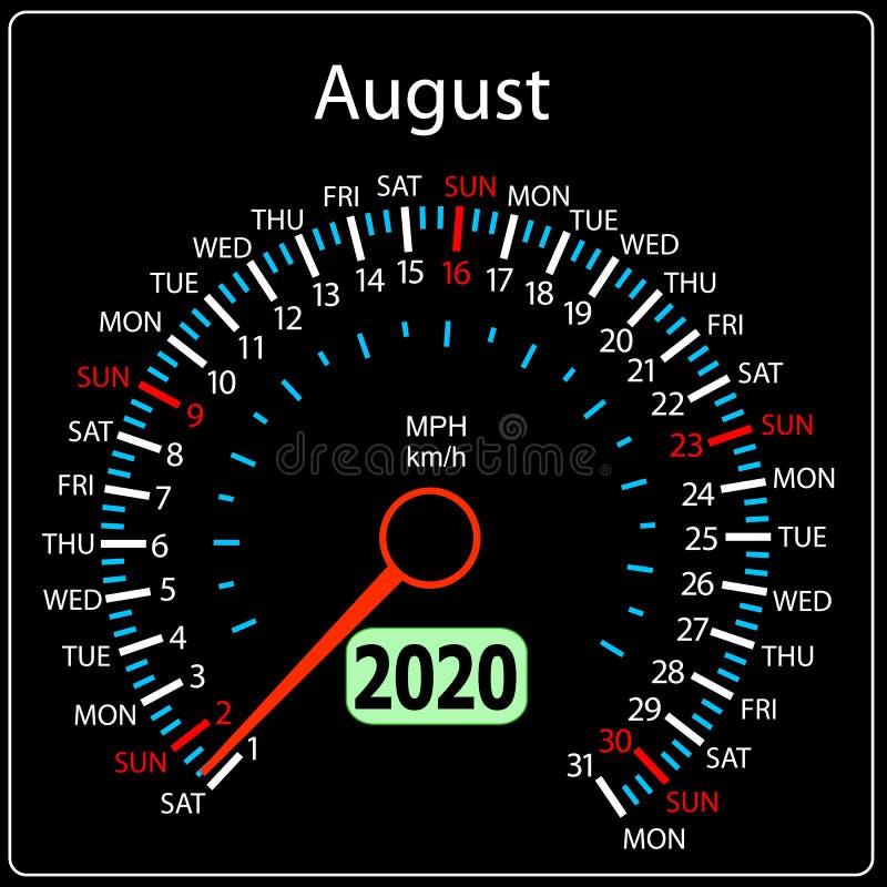 Το αυτοκίνητο Αύγουστος ημερολογιακών ταχυμέτρων έτους του 2020 ελεύθερη απεικόνιση δικαιώματος