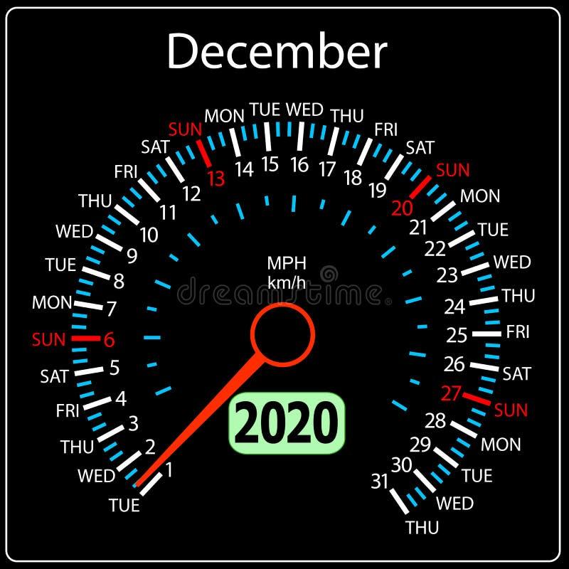 Το αυτοκίνητο Δεκέμβριος ημερολογιακών ταχυμέτρων έτους του 2020 διανυσματική απεικόνιση