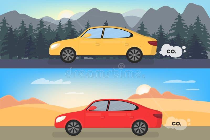 Το αυτοκίνητο εκπέμπει το διοξείδιο του άνθρακα Ατμοσφαιρική ρύπανση με το CO2 απεικόνιση αποθεμάτων
