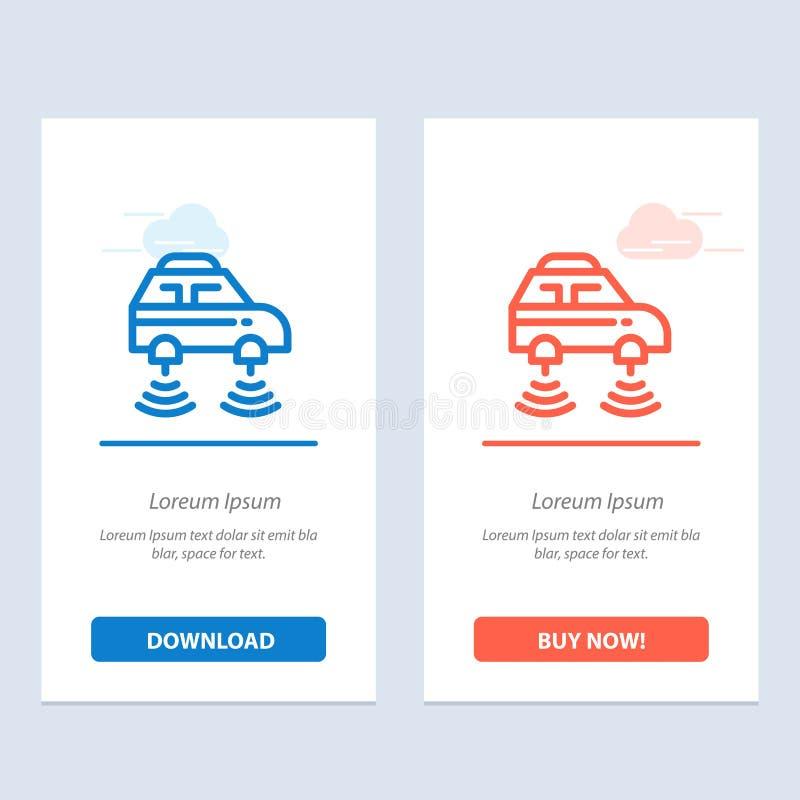 Το αυτοκίνητο, ηλεκτρικός, το δίκτυο, έξυπνος, το wifi μπλε και το κόκκινο μεταφορτώνουν και αγοράζουν τώρα το πρότυπο καρτών Wid διανυσματική απεικόνιση