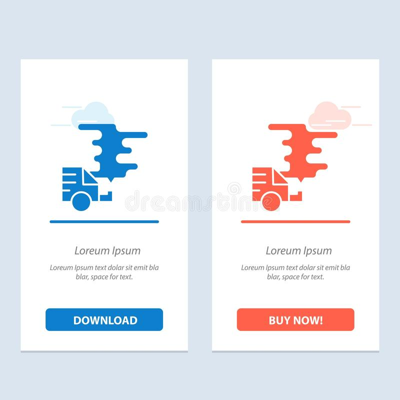 Το αυτοκίνητο, το αυτοκίνητο, η εκπομπή, το αέριο, η ρύπανση μπλε και το κόκκινο μεταφορτώνουν και αγοράζουν τώρα το πρότυπο καρτ διανυσματική απεικόνιση