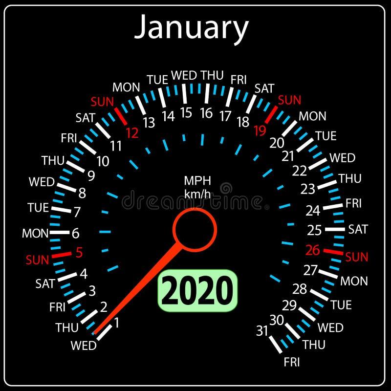Το αυτοκίνητο Ιανουάριος ημερολογιακών ταχυμέτρων έτους του 2019 ελεύθερη απεικόνιση δικαιώματος