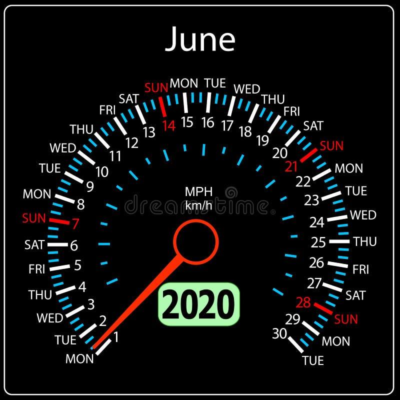 Το αυτοκίνητο Ιούνιος ημερολογιακών ταχυμέτρων έτους του 2020 διανυσματική απεικόνιση