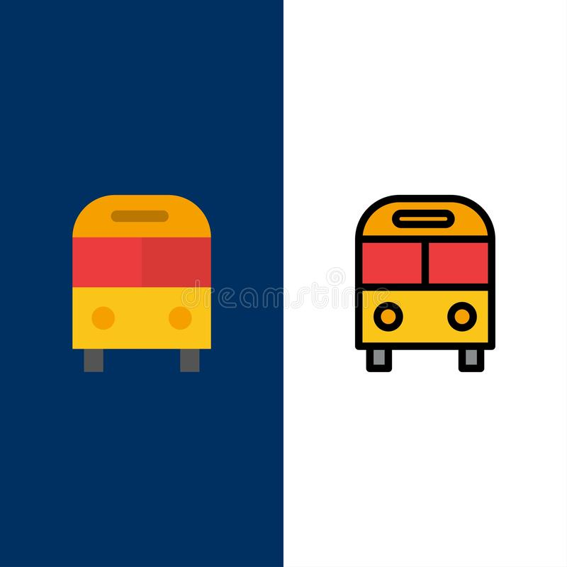 Το αυτοκίνητο, λεωφορείο, παραδίδει, λογιστικός, εικονίδια μεταφορών Επίπεδος και γραμμή γέμισε το καθορισμένο διανυσματικό μπλε  ελεύθερη απεικόνιση δικαιώματος