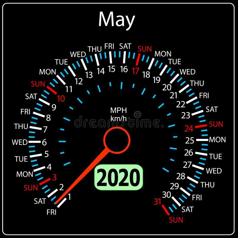 Το αυτοκίνητο Μάιος ημερολογιακών ταχυμέτρων έτους του 2020 ελεύθερη απεικόνιση δικαιώματος