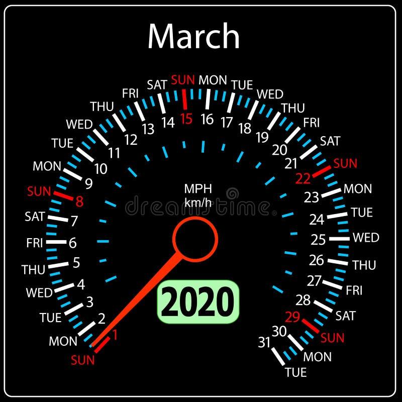 Το αυτοκίνητο Μάρτιος ημερολογιακών ταχυμέτρων έτους του 2020 ελεύθερη απεικόνιση δικαιώματος