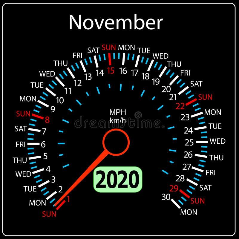 Το αυτοκίνητο Νοέμβριος ημερολογιακών ταχυμέτρων έτους του 2020 απεικόνιση αποθεμάτων