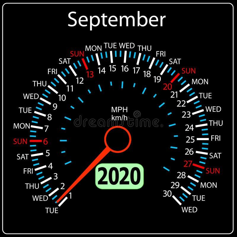 Το αυτοκίνητο Σεπτέμβριος ημερολογιακών ταχυμέτρων έτους του 2020 διανυσματική απεικόνιση