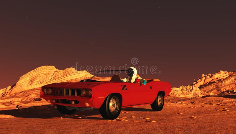 Το αυτοκίνητο στον Άρη διανυσματική απεικόνιση