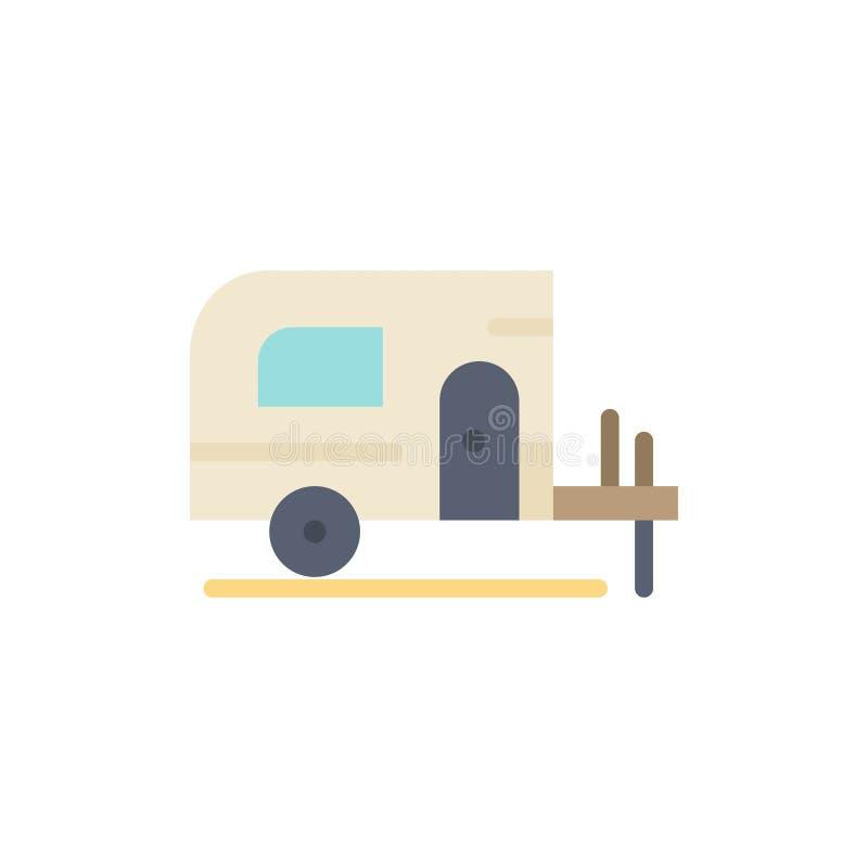 Το αυτοκίνητο, στρατόπεδο, αναπηδά το επίπεδο εικονίδιο χρώματος Διανυσματικό πρότυπο εμβλημάτων εικονιδίων ελεύθερη απεικόνιση δικαιώματος