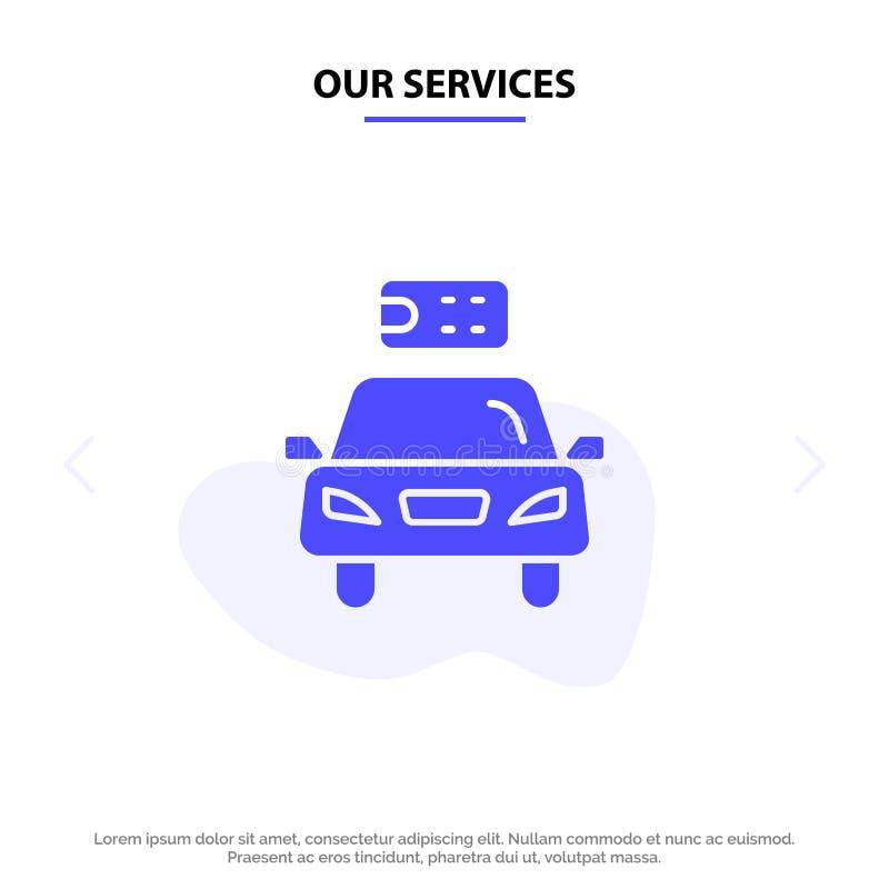 Το αυτοκίνητο υπηρεσιών μας, οικολογία, ηλεκτρική, ενέργεια, στερεό πρότυπο καρτών Ιστού εικονιδίων Glyph δύναμης απεικόνιση αποθεμάτων