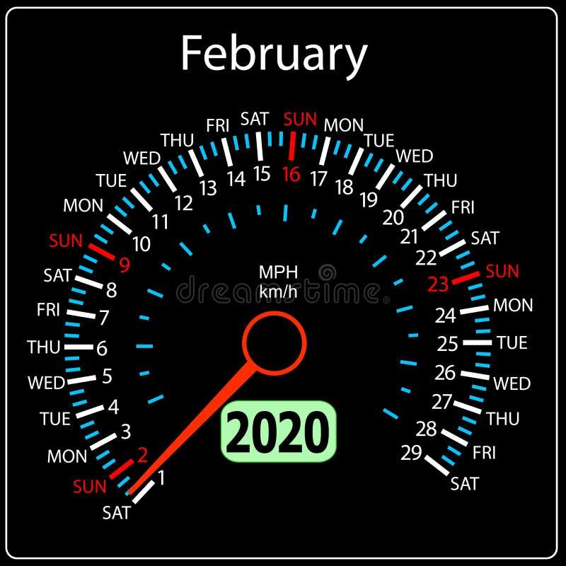 Το αυτοκίνητο Φεβρουάριος ημερολογιακών ταχυμέτρων έτους του 2020 ελεύθερη απεικόνιση δικαιώματος