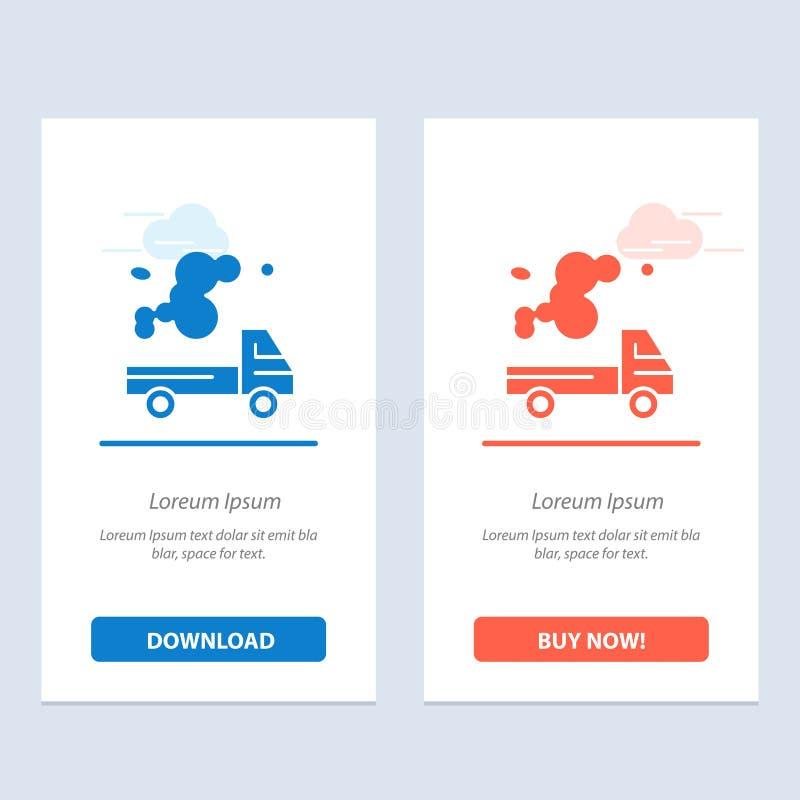 Το αυτοκίνητο, το φορτηγό, η εκπομπή, το αέριο, η ρύπανση μπλε και το κόκκινο μεταφορτώνουν και αγοράζουν τώρα το πρότυπο καρτών  ελεύθερη απεικόνιση δικαιώματος
