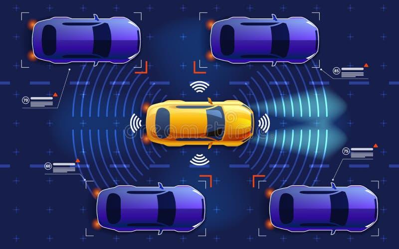 Το αυτόνομο ηλεκτρο έξυπνο αυτοκίνητο πηγαίνει στο δρόμο στην κυκλοφορία Ανιχνεύει το δρόμο, παρατηρεί την απόσταση Μελλοντική έν ελεύθερη απεικόνιση δικαιώματος