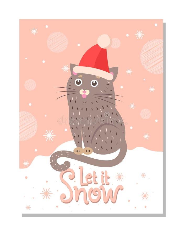 Το αφήστε να χιονίσει αφίσα με τη Handdrawn γάτα στο καπέλο Santa διανυσματική απεικόνιση