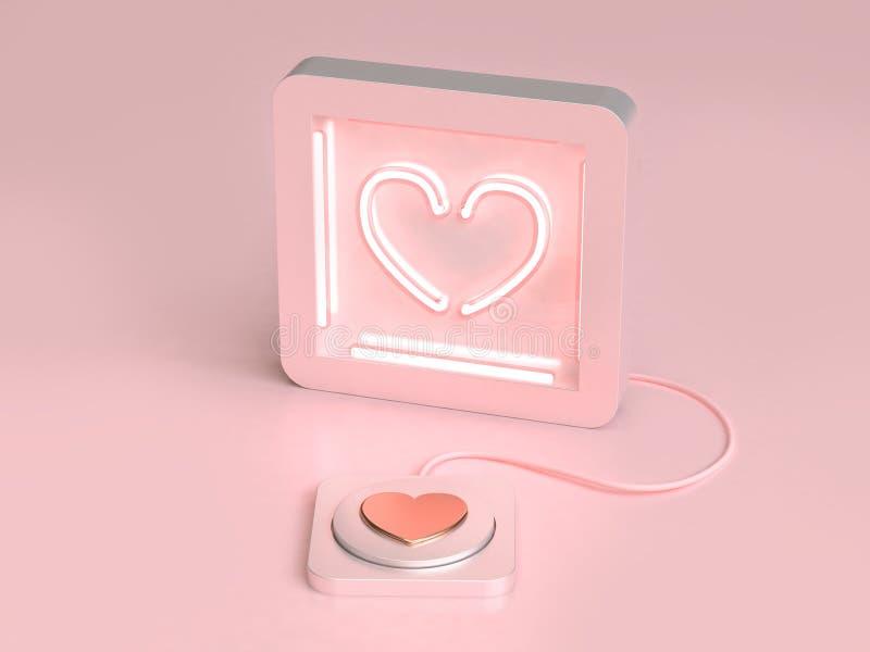Το αφηρημένες φως νέου καρδιών και η έννοια βαλεντίνων αγάπης κουμπιών τρισδιάστατη δίνουν ελεύθερη απεικόνιση δικαιώματος
