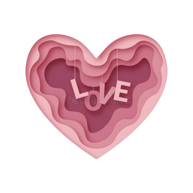 Το αφηρημένο έγγραφο αγάπης έκοψε διανυσματικό eps 10 διανυσματική απεικόνιση