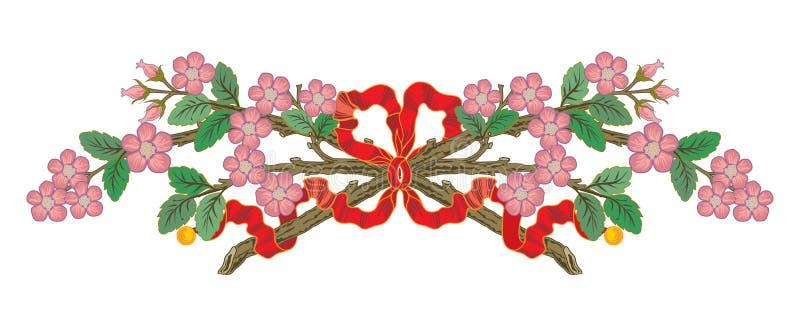 Το αφηρημένο ασιατικό στεφάνι λουλουδιών εμβλημάτων κορδελλών διακλαδίζεται απεικόνιση διανυσματική απεικόνιση