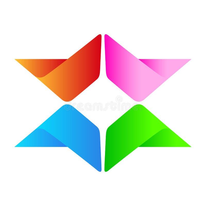 Το αφηρημένο διανυσματικό επιχειρησιακό λογότυπο λογότυπων για την επιχείρηση, επιτυχία σε εταιρικό επενδύει το ζωηρόχρωμο σχέδιο διανυσματική απεικόνιση