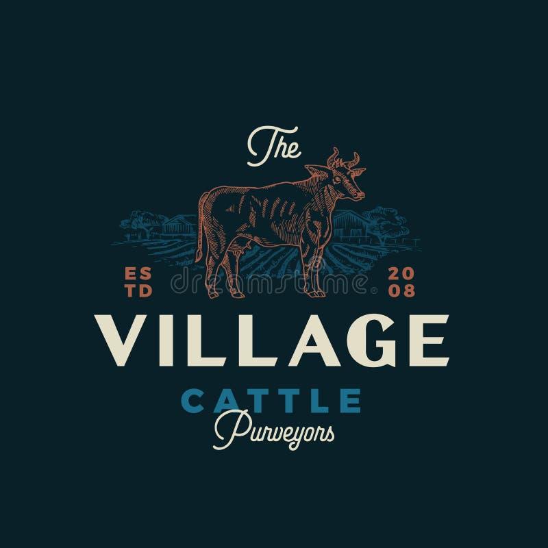 Το αφηρημένο διανυσματικό σημάδι προμηθευτών τροφίμων του χωριού βοοειδών, το σύμβολο ή το πρότυπο λογότυπων Συρμένες χέρι σκιαγρ απεικόνιση αποθεμάτων